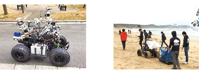 人と協働する海岸清掃ロボット